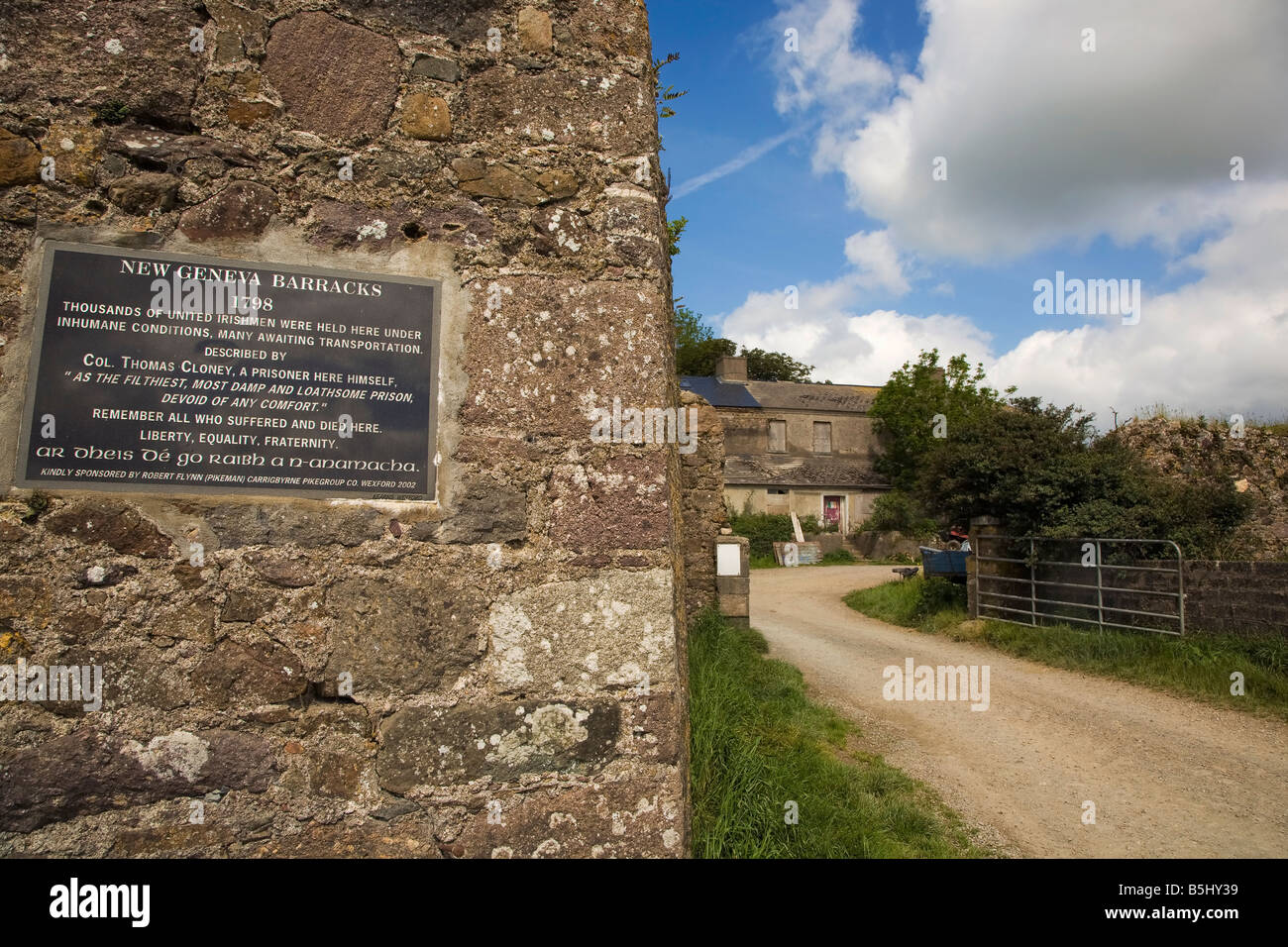 Plaque commemorating the 1798 Uprising, The Geneva BarracksTransportation Centre, Crook, County Waterford, Ireland - Stock Image