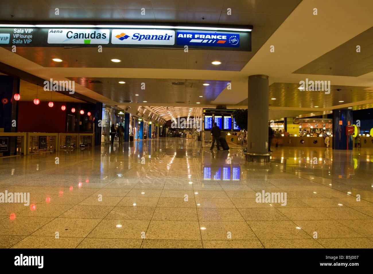 Inside Barcelona airport in the departures lounge El Prat, Barcelona, Spain - Stock Image