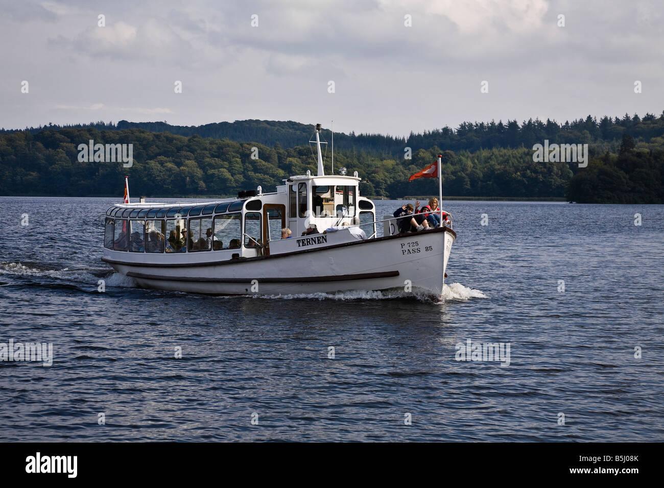 Tourist boat 'Ternen' on Lake Brassø near Silkeborg, Jutland, Denmark - Stock Image