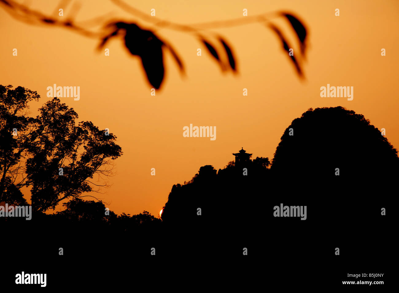 Sunset in Yangshuo, on the Li River, Guangxi Province, China Stock Photo