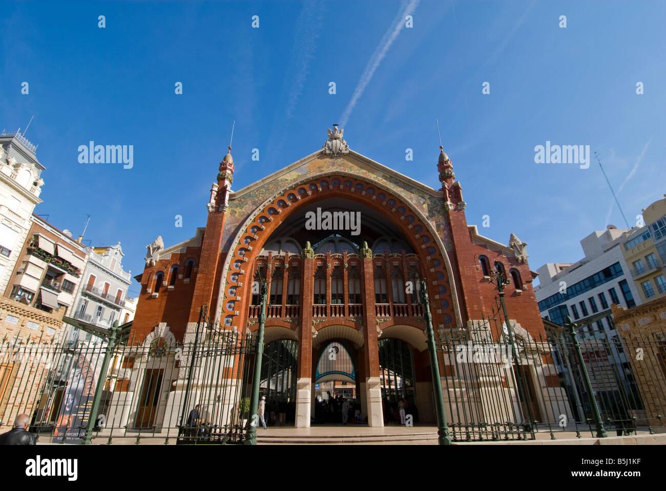 The former market hall Mercado de Colón in the city of Valencia Spain - Stock Image
