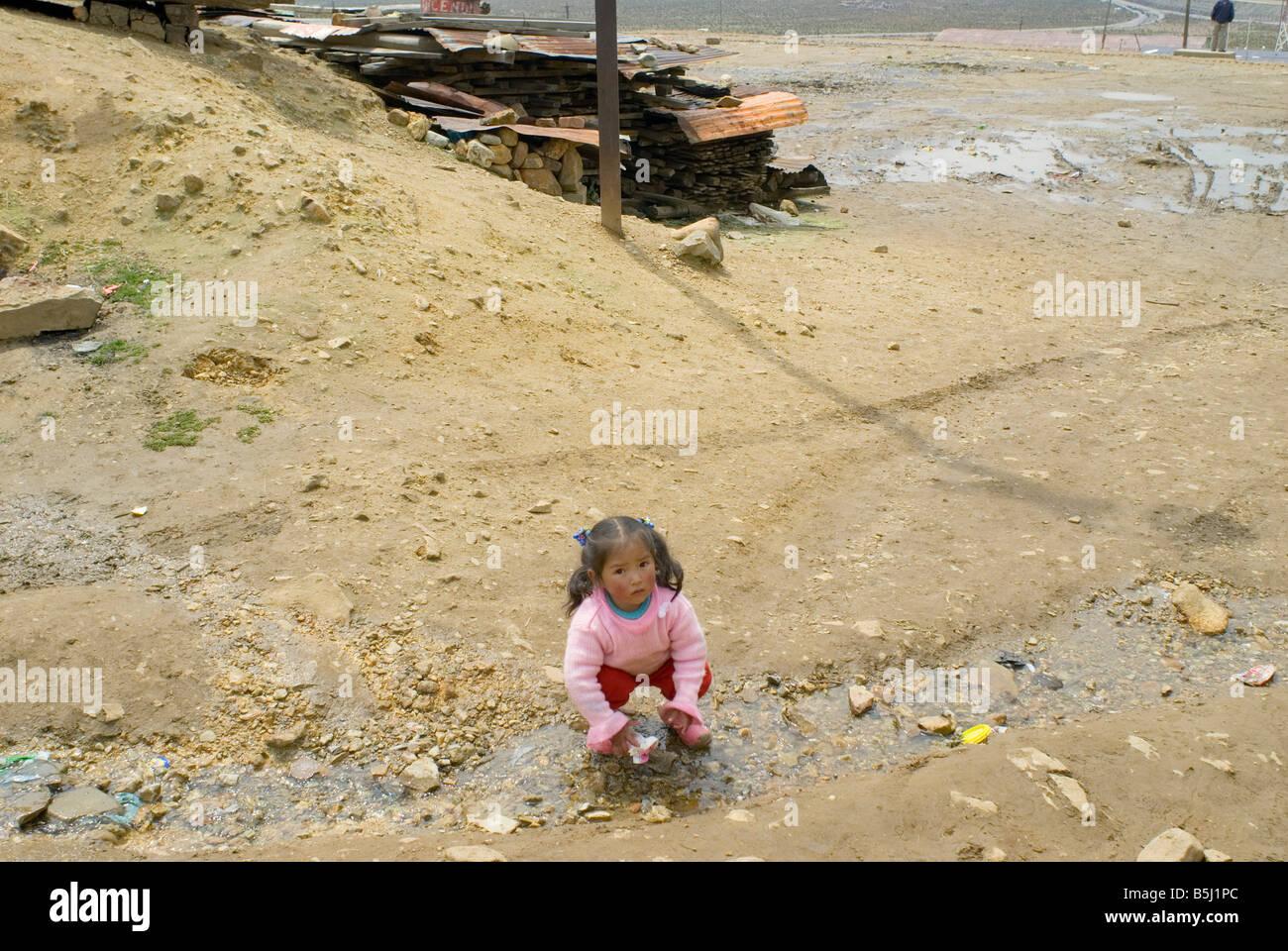 Scene in the small mining town of Morococho Peru - Stock Image
