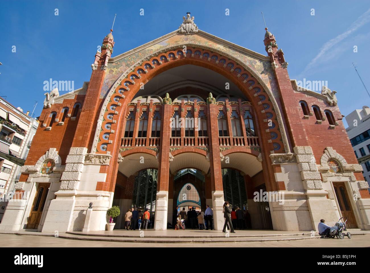 Entrance to the former market hall Mercado de Colón in the city of Valencia Spain - Stock Image