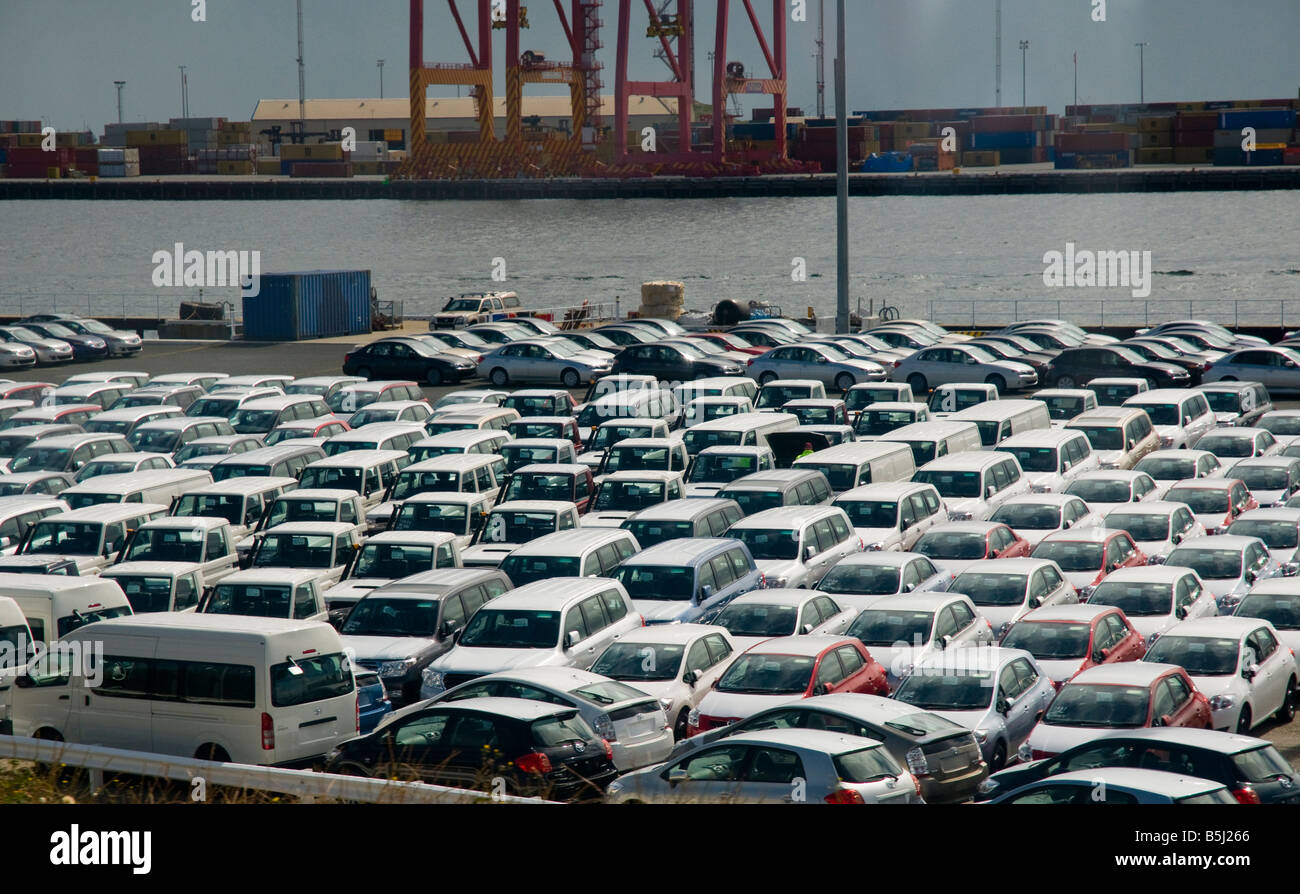 New imported cars unloaded at wharf in Fremantle Western Australia - Stock Image
