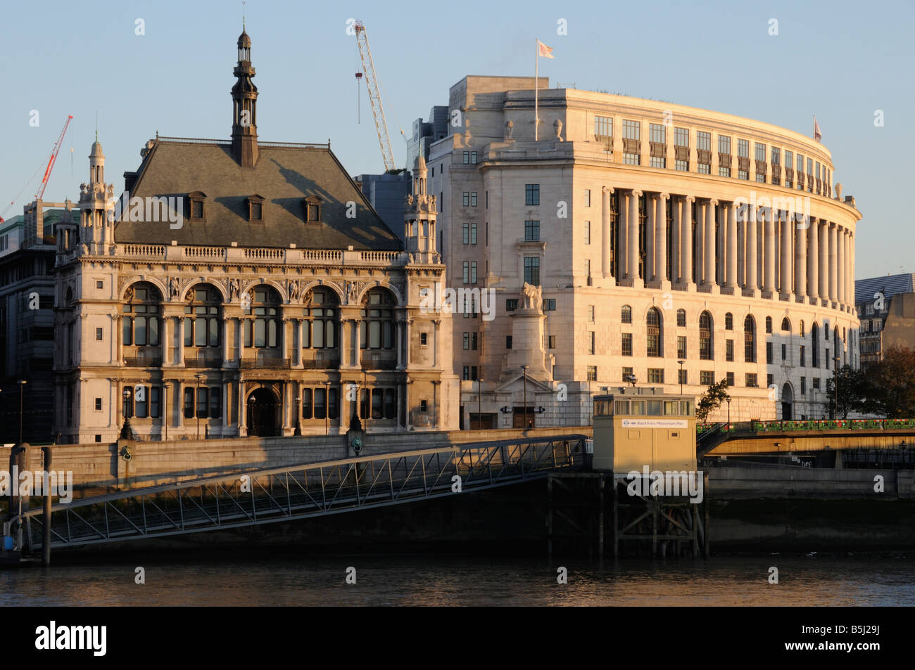 Victoria Embankment from The South Bank, London, UK - Stock Image