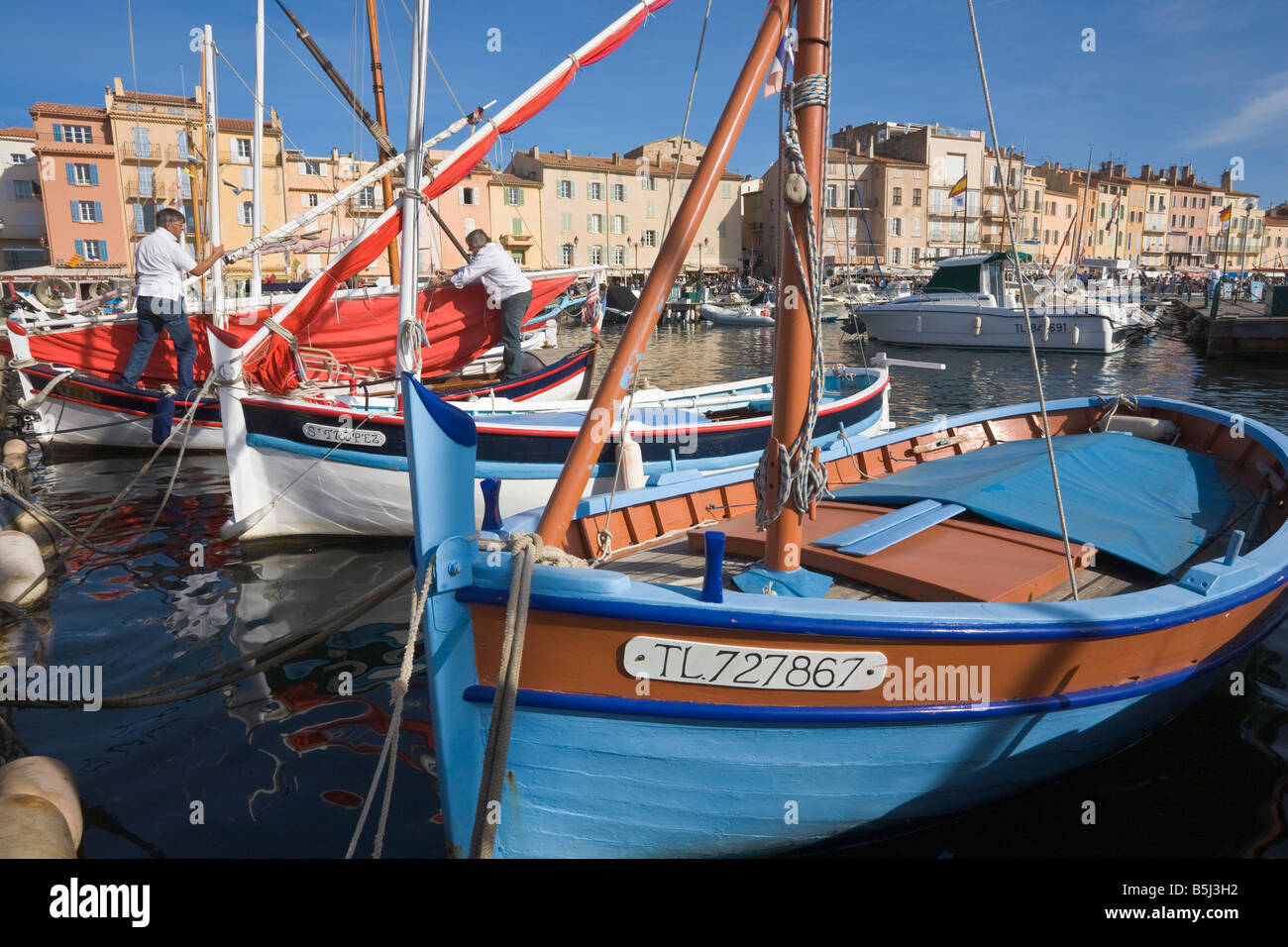 Sailing boats are situated in the port of Saint-Tropez at the Cote d'Azur / Provence / Southern France Stock Photo