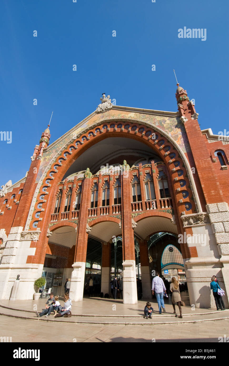 Entrance of former market hall Mercado de Colón in the city of Valencia Spain - Stock Image