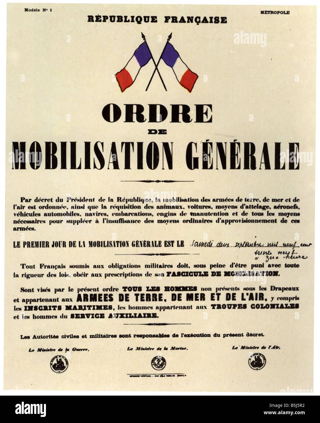 Poster Announcing The General Mobilisation Order September 2 1939