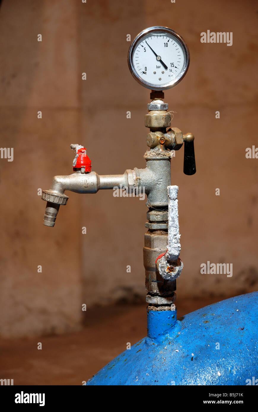 Water Pressure Meter in Waterhouse Klece - Kleče. - Stock Image