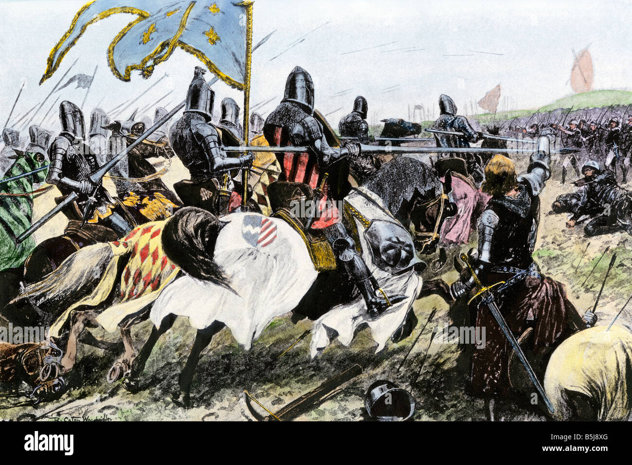 Charge of the French knights against English longbowmen at Crecy during the Hundred Years War 1346. Hand-colored - Stock Image