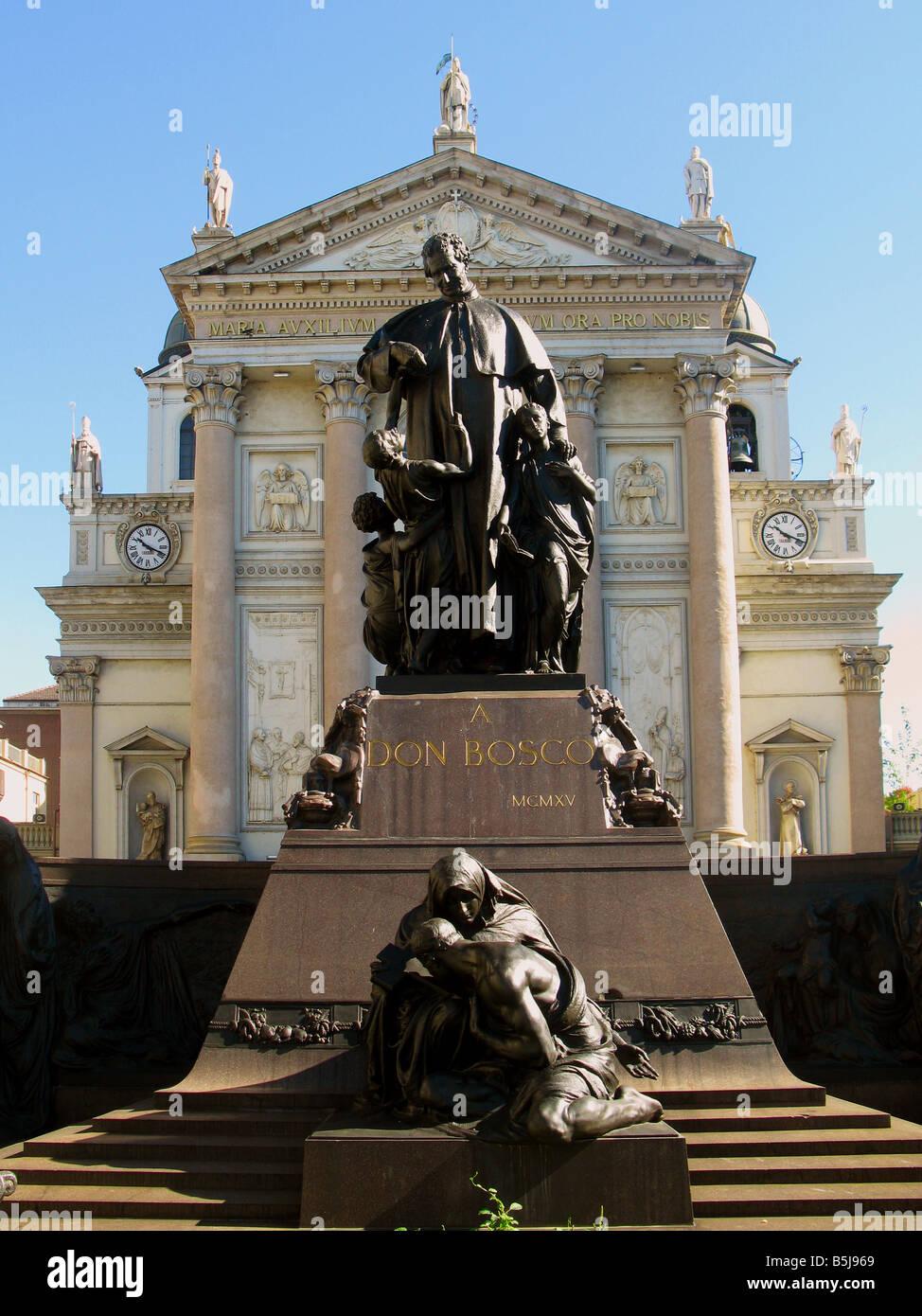 Turin. Don John Bosco monument. - Stock Image