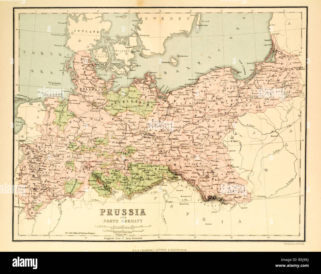 Prussia And North Germany 1880 Map Cartography Stock Photo 20686390