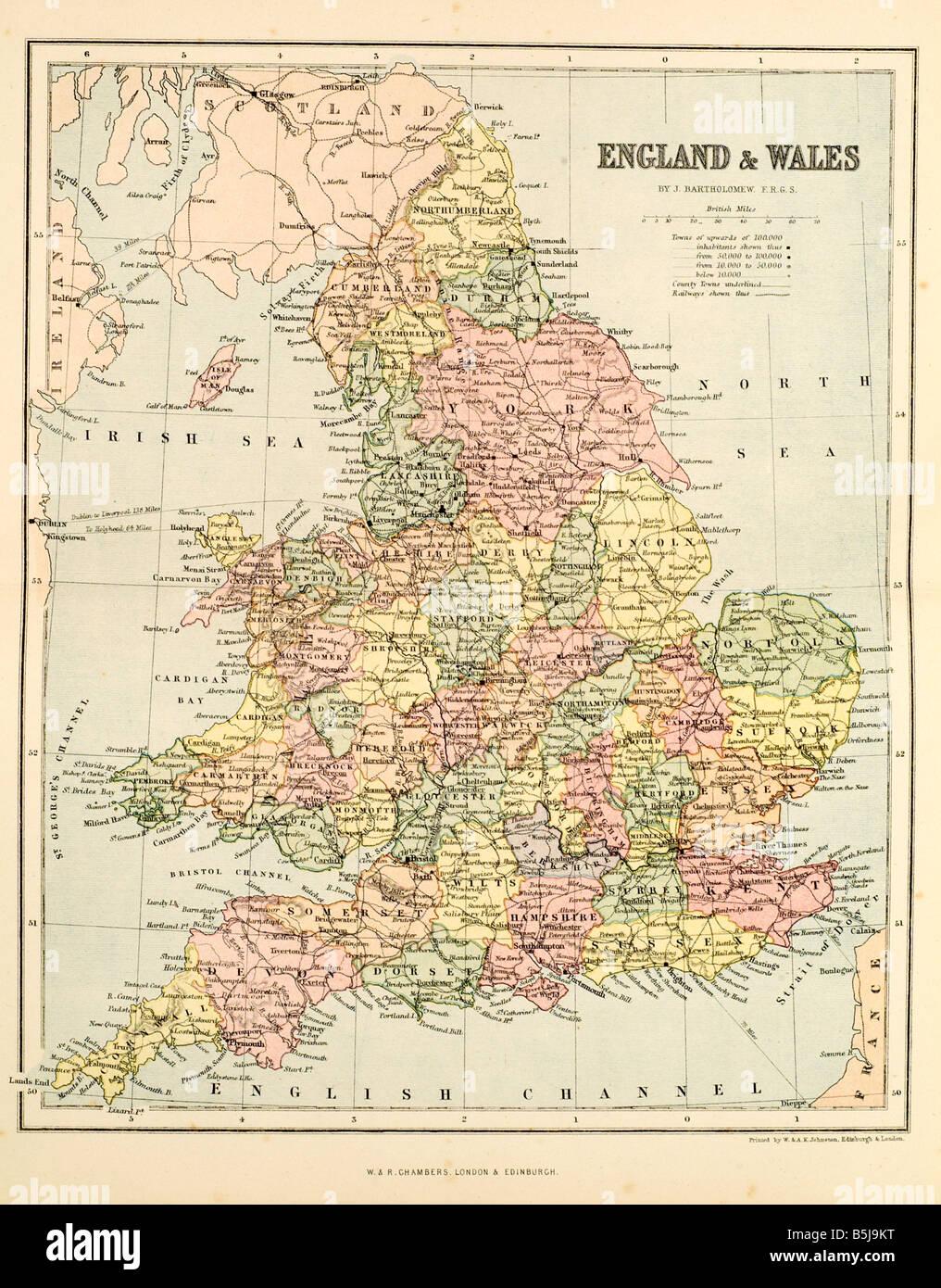 england and wales map United Kingdom Cynulliad Cenedlaethol Cymru Roman occupation - Stock Image
