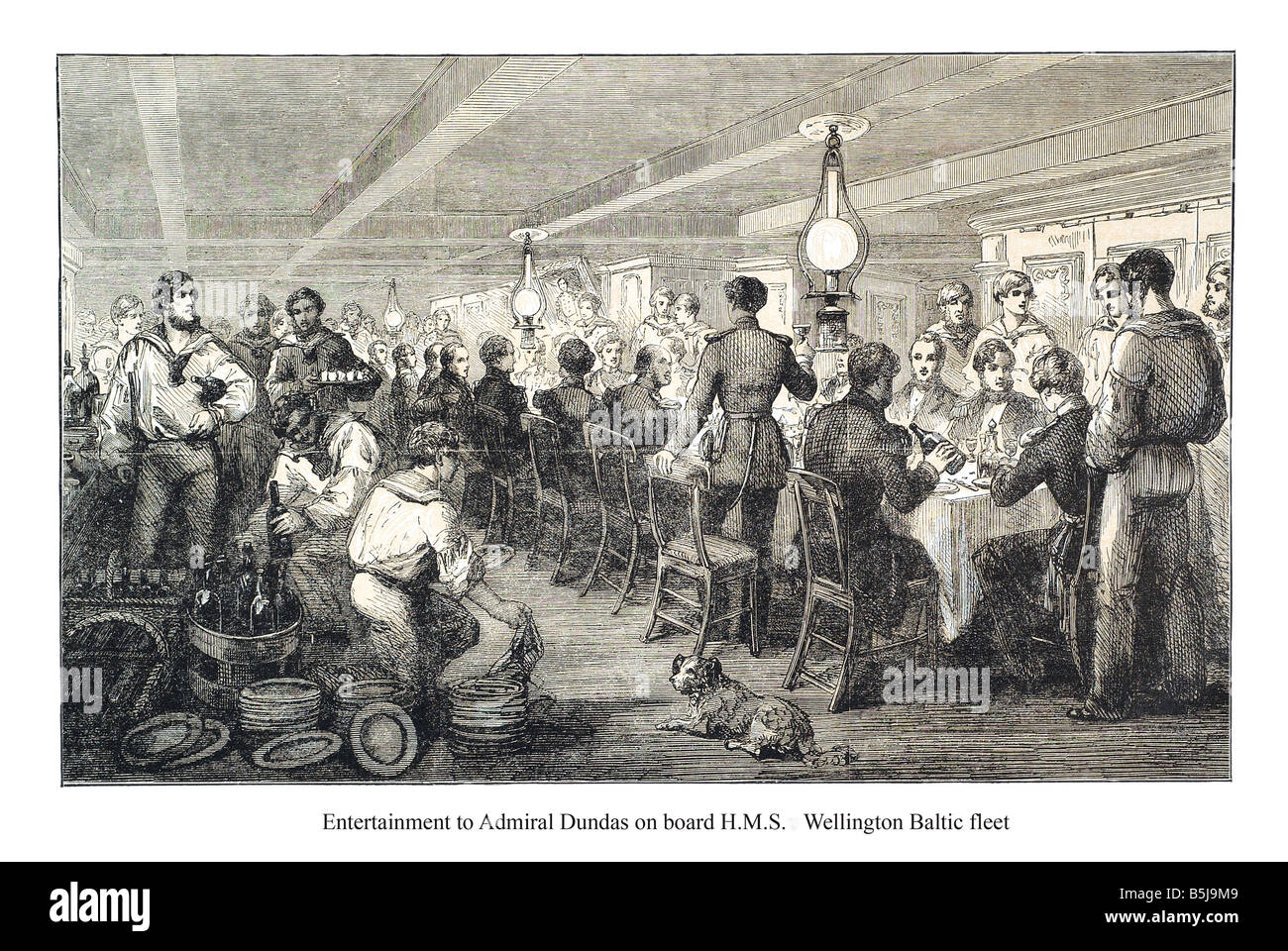 Entertainment to admiral dundas on board h m s Wellington - Stock Image