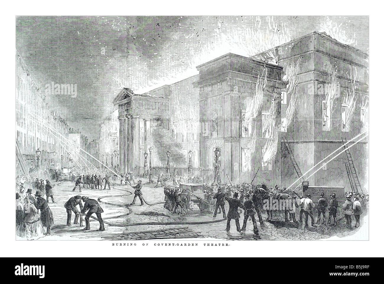 Burning of Covent garden theatre March 15 1856 The Illustrated London News Page 276 - Stock Image