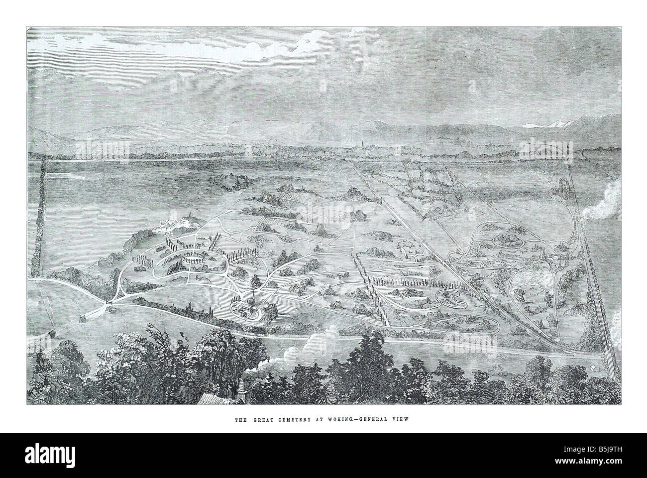 The great cemetery at woking general view April 26 1856 The Illustrated London News Page 464 Stock Photo