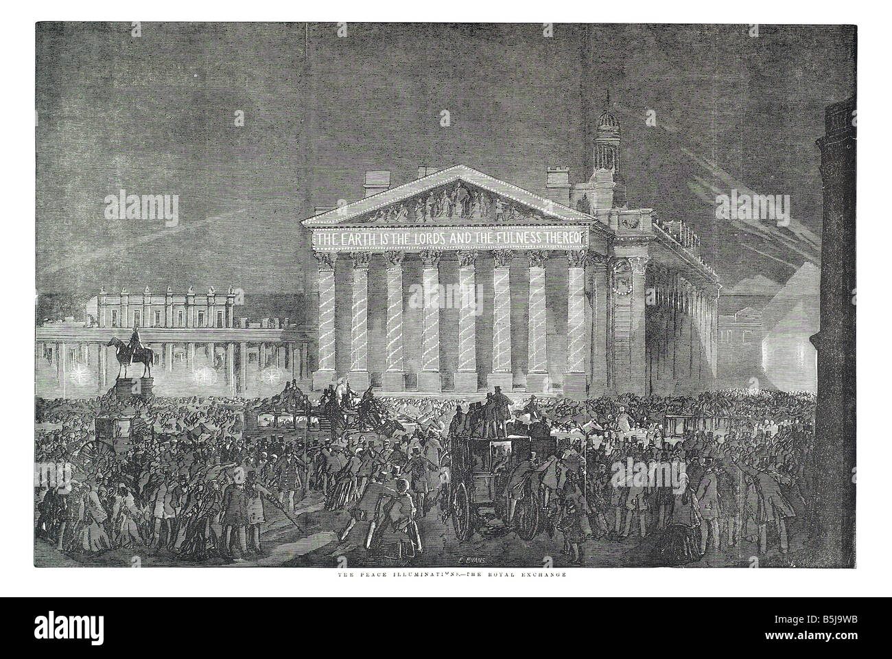 The peace illuminations the royal exchange May 31 1856 The Illustrated London News Page 592 - Stock Image