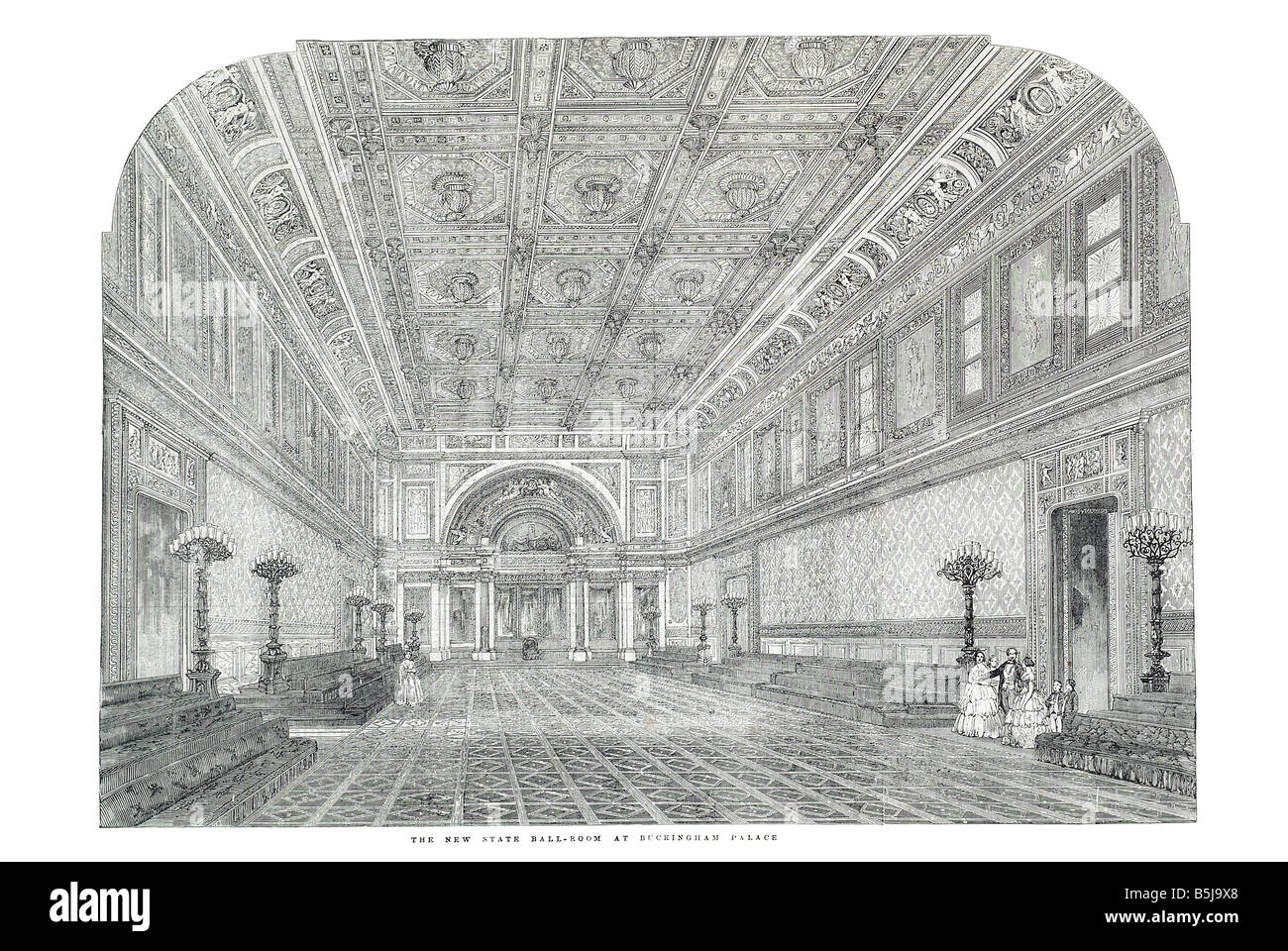 The new state ball room at Buckingham palace June 21 1856 The Illustrated London News Page 684 - Stock Image