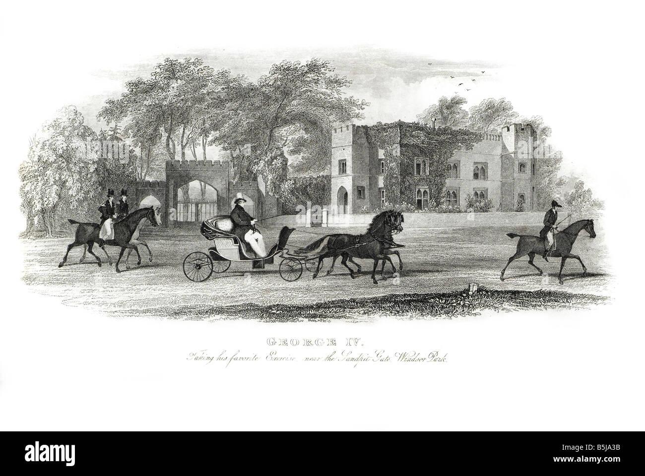 George IV Augustus Frederick 1762 1830 king United Kingdom of Great Britain and Ireland Hanover horse carriage landau - Stock Image