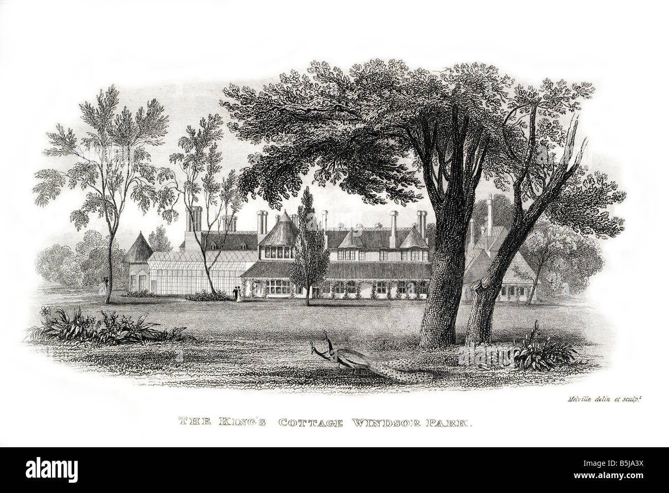 king george IV 4th  cottage windsor park retreat peacock lawn - Stock Image