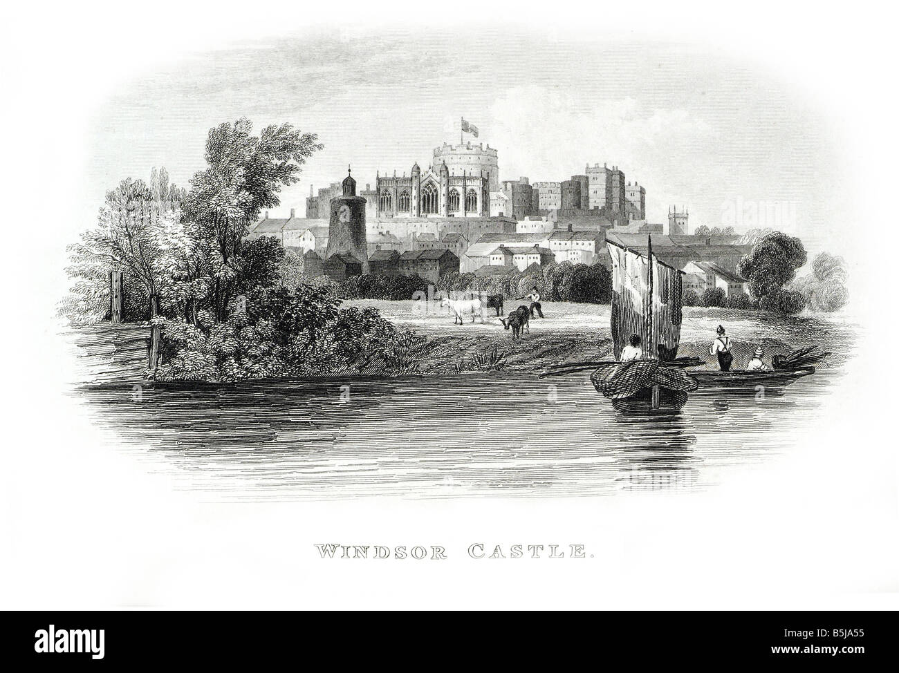 Windsor Castle Berkshire UK from river thames sailing boat bank distant view - Stock Image