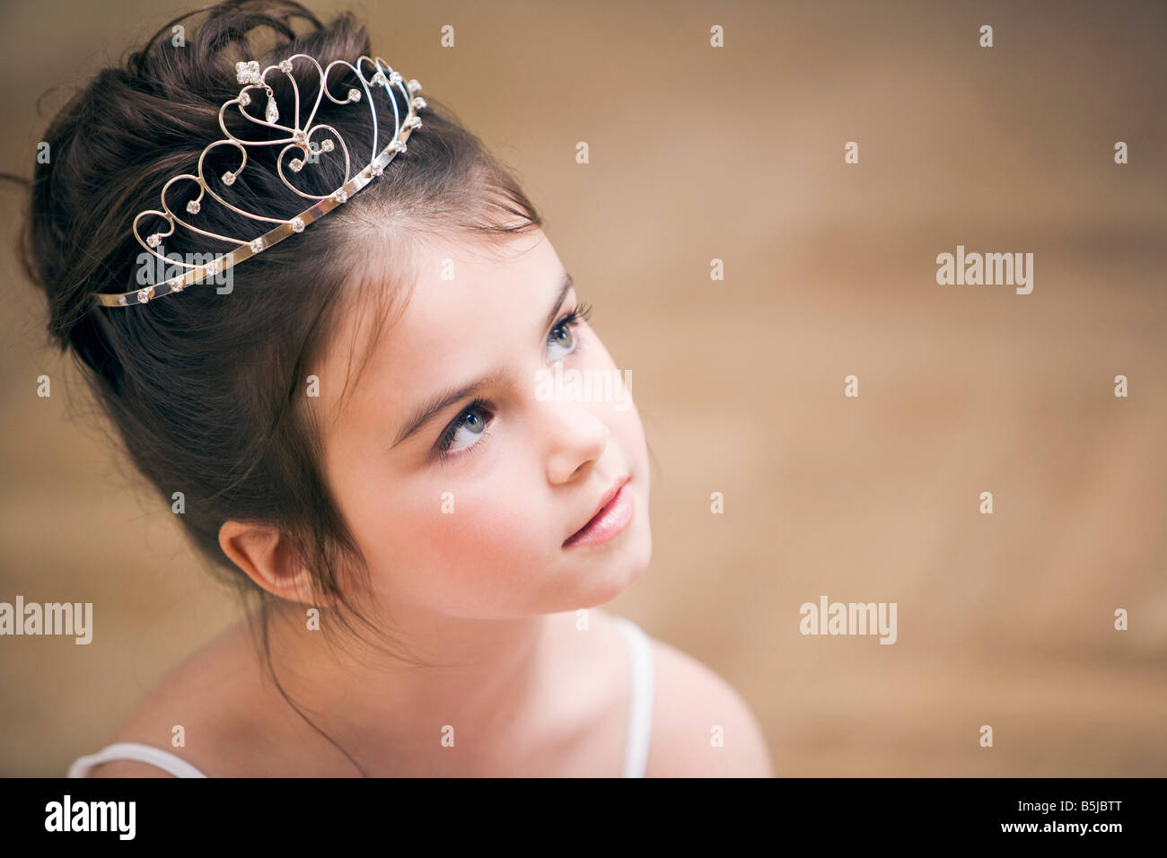 portrait of young ballet dancer wearing little crown Stock Photo