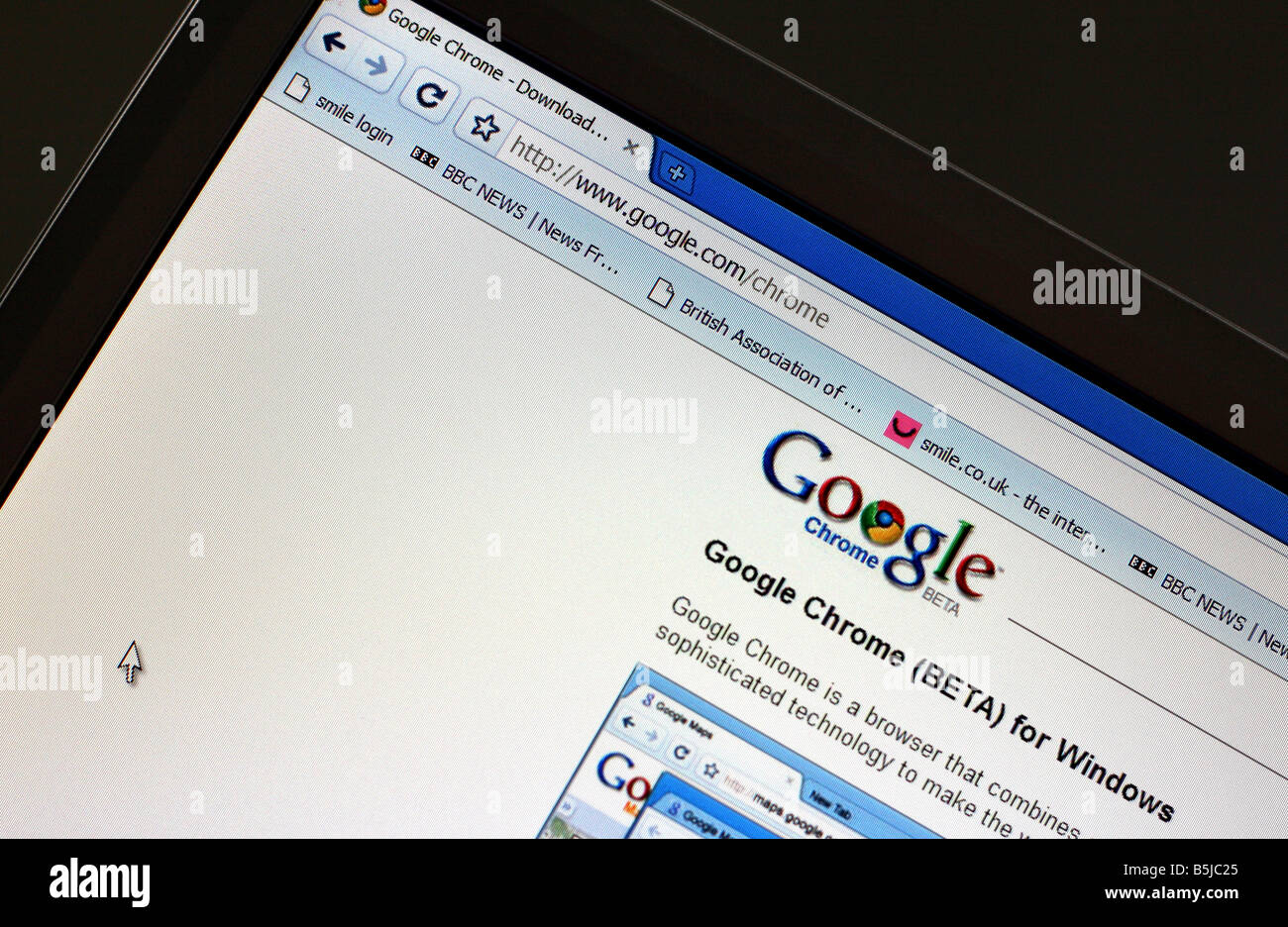 New Internet browser Google Chrome launched - Stock Image