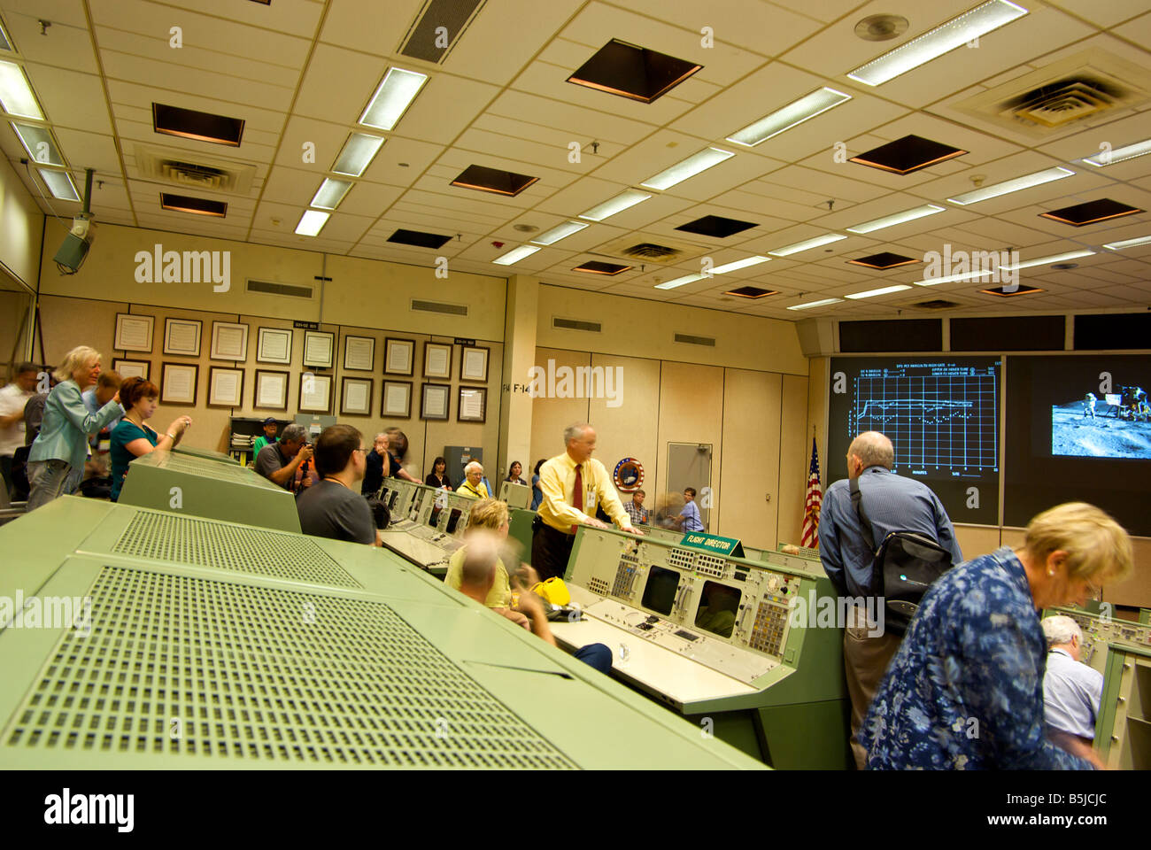 Tourists visiting the original NASA Mission Control Center at the Johnson Space Center - Stock Image