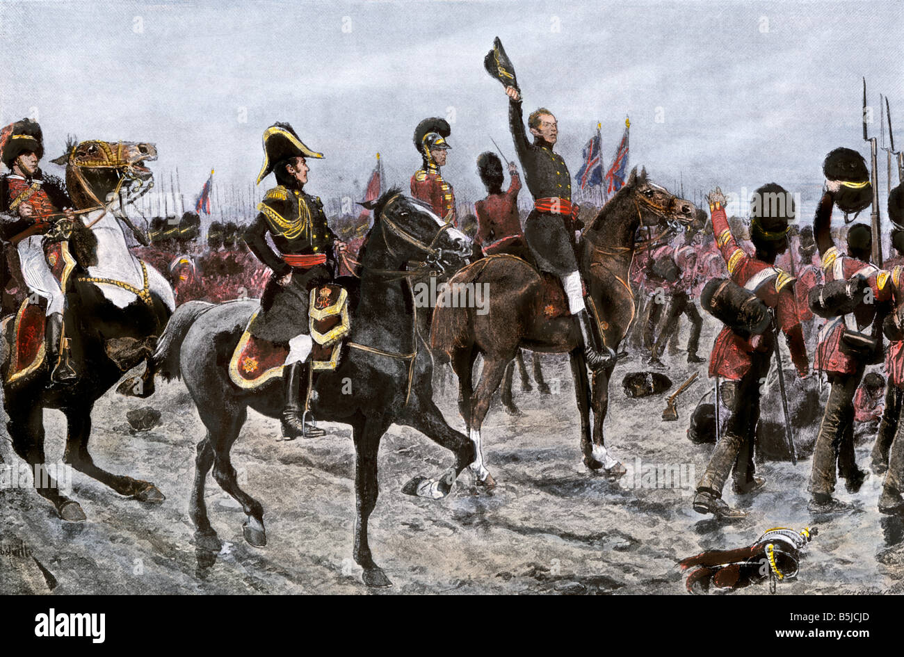 Duke of Wellington ordering the entire British line to advance at the Battle of Waterloo 1815. Hand-colored halftone - Stock Image