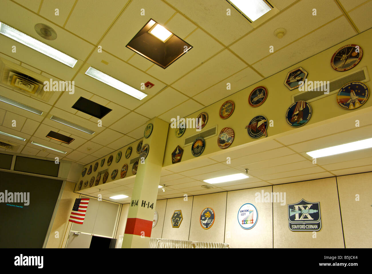 Plaques commemorating all the space missions handled at the original NASA Mission Control Center at the Johnson - Stock Image