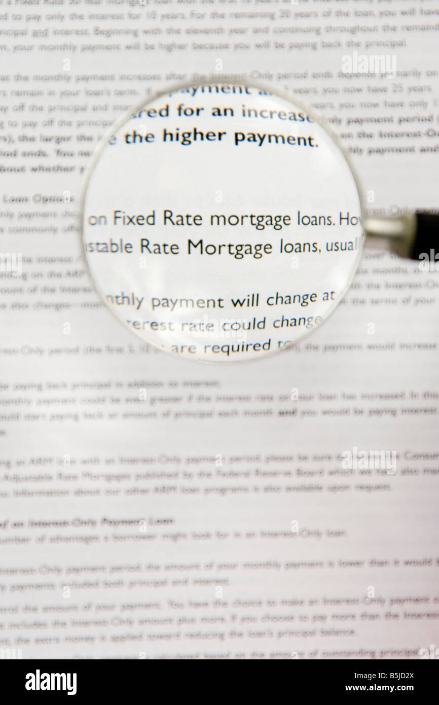 Contract with fixed interest rate and adjustable interest rate mortgage loans. - Stock Image