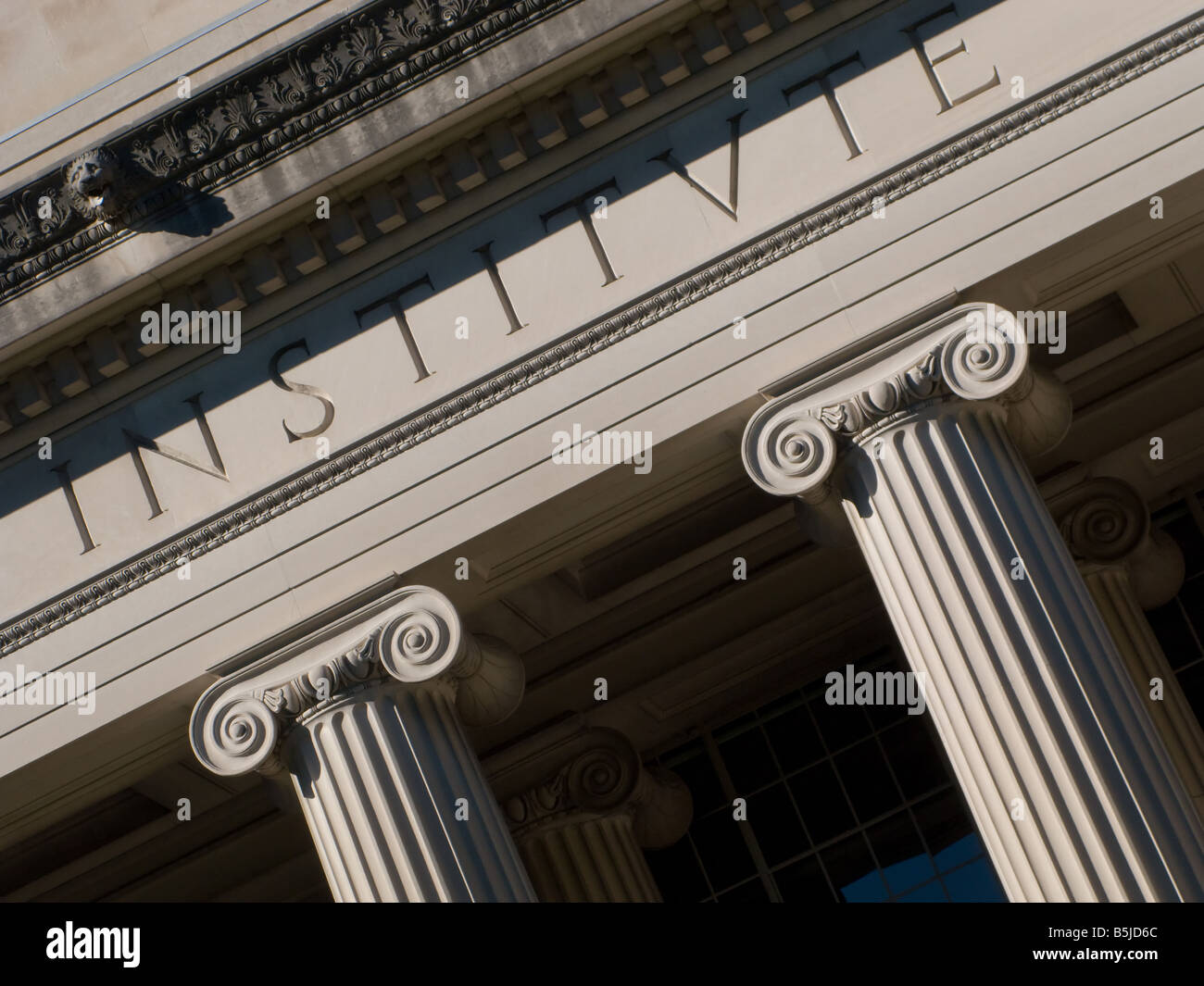 Detail shot of the tops of the columns on the Building 10 facade on the MIT campus in Cambridge MA as seen on 10 - Stock Image