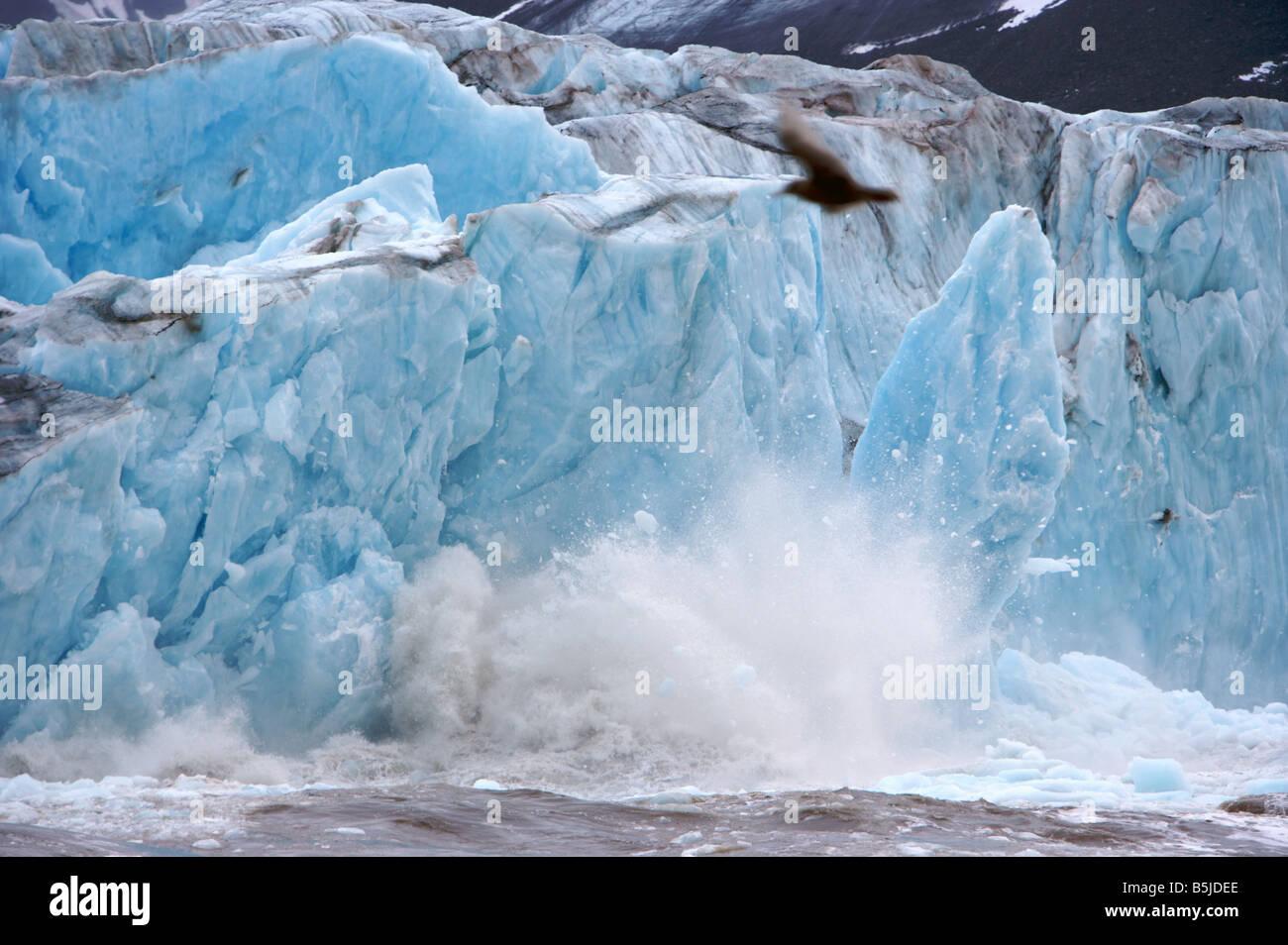 Ice breaking down at Monaco Glacier Spitsbergen - Stock Image