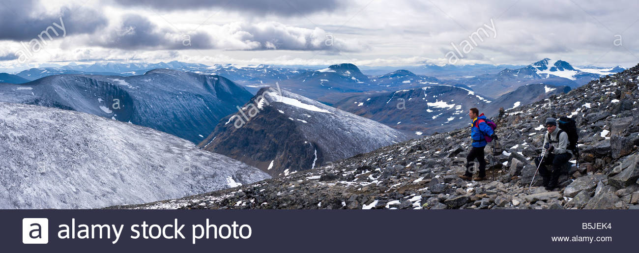 Panoramic view to the south west, from Kebnekaise, Sweden's highest mountain. - Stock Image