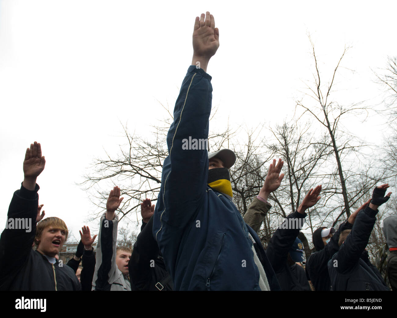 Ultra-nationalist activists making Nazi salutes during their rally in central Petersburg on November 4. - Stock Image