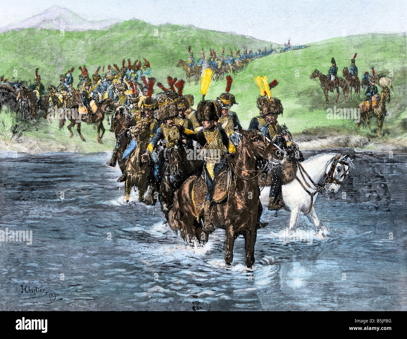 French cavalry fording a river during their invasion of Spain Napoleonic Wars. Hand-colored halftone of an illustration Stock Photo