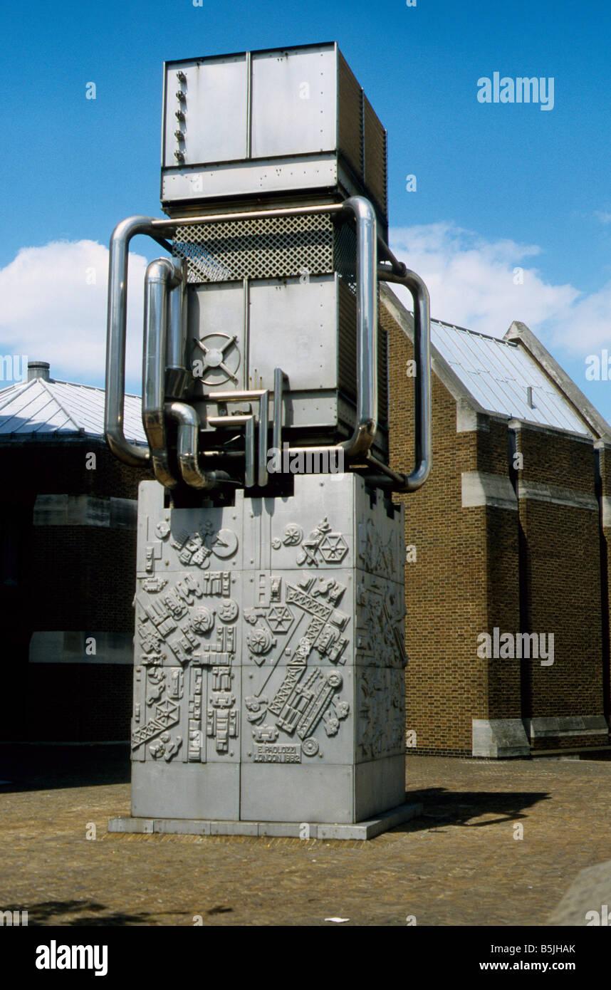 Sculpture by Eduardo Paolozzi hiding an air vent from Victoria line underground, Bessborough Street, Pimlico, London Stock Photo