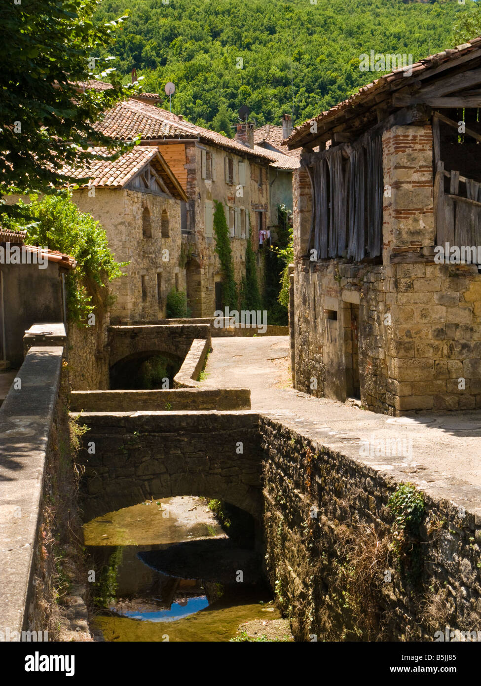 Medieval houses and street St Antonin Noble Val Tarn et Garonne France Europe - Stock Image