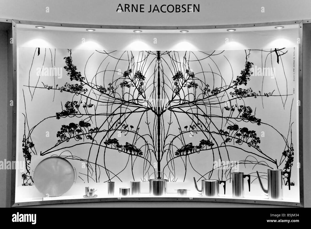 Arne Jacobsens display of stainless kitchen equipment - Stock Image