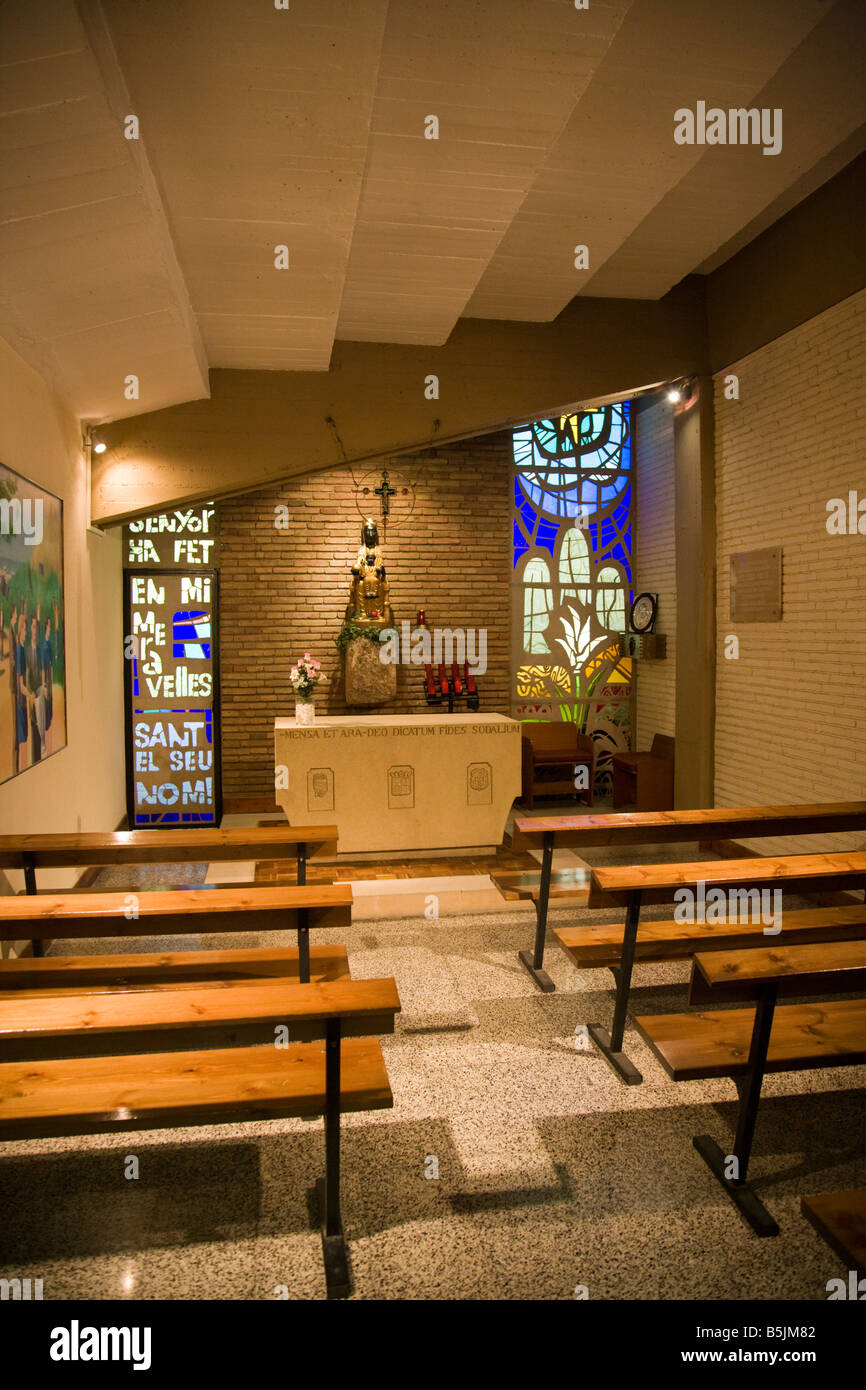 Chapel beside the tunnel leading to the pitch at Camp Nou Stadium Barcelona Spain - Stock Image