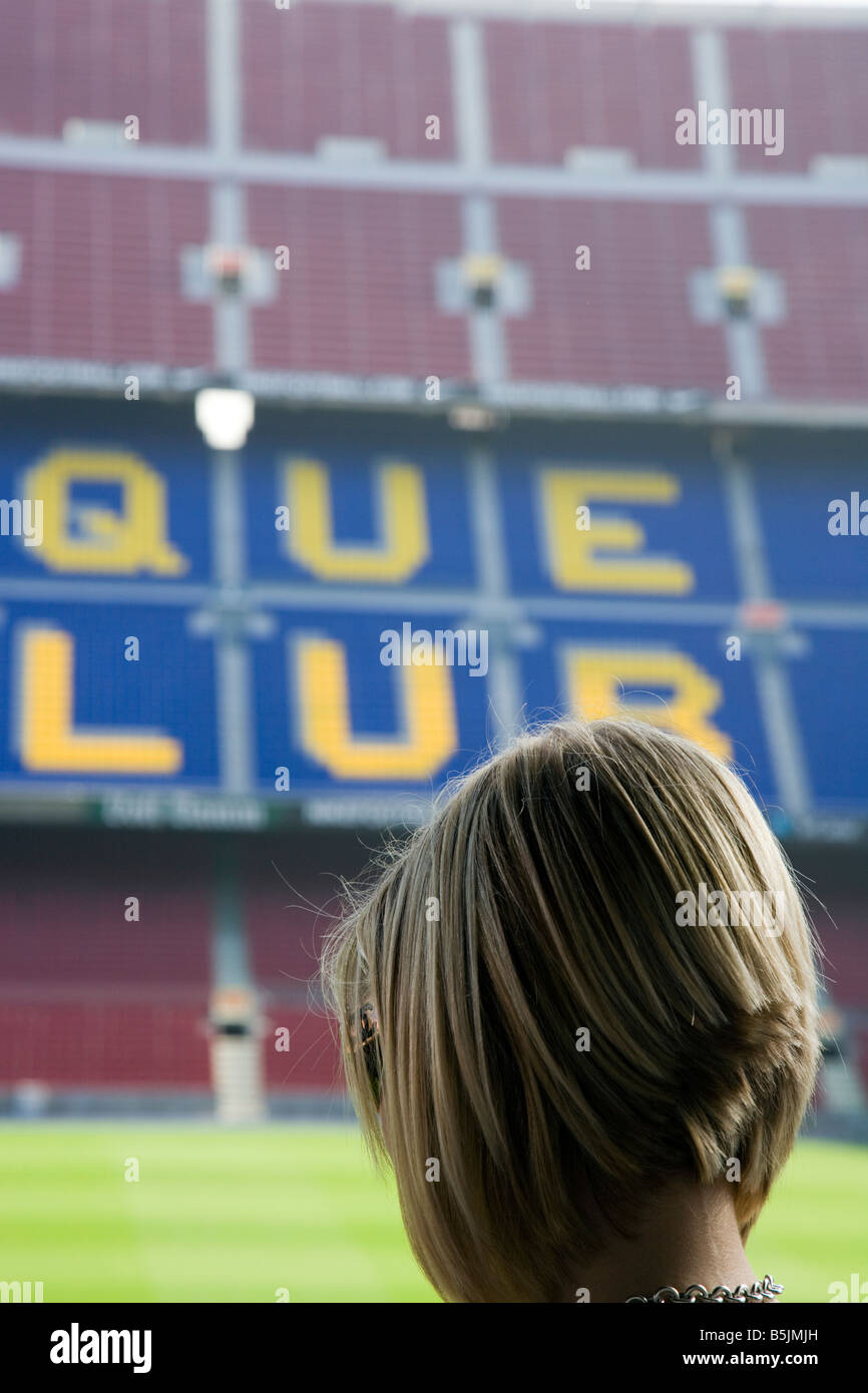 Barcelona football fan looking out over the pitch , CAMP NOU FC BARCELONA FOOTBALL STADIUM BARCELON - Stock Image