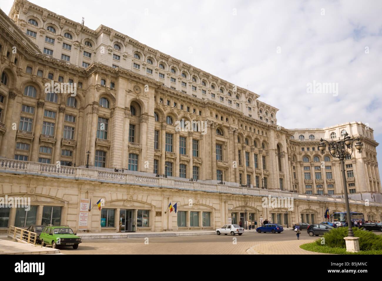 Bucharest Romania Nicholae Ceausescu's House of the People Casa Poporului Romanian Parliament and Senate building Stock Photo