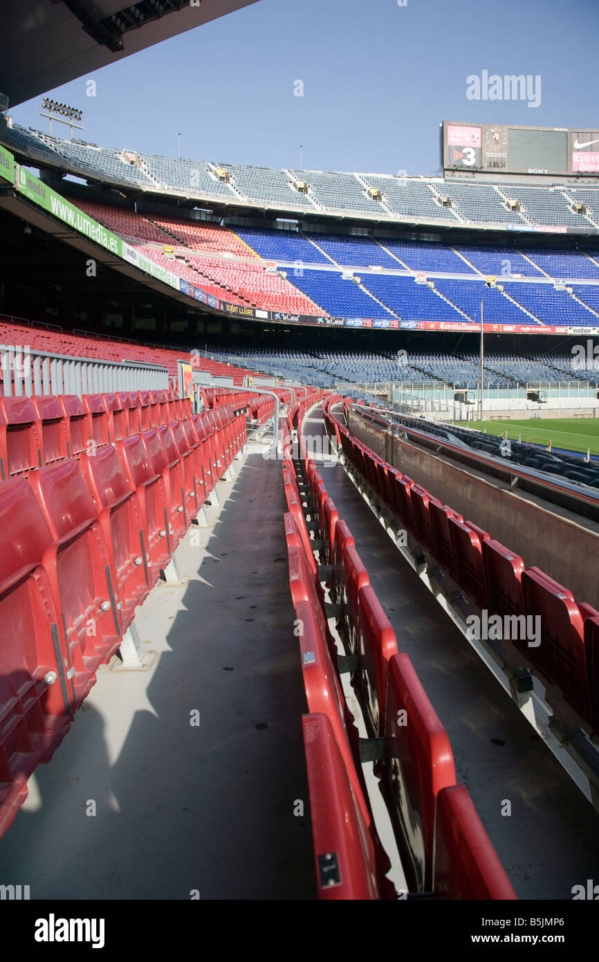 Nou Camp, Barcelona Catalonia Spain seats at the pitch side - Stock Image
