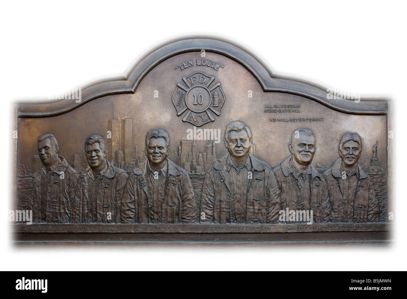 Memorial plaque for those lost on 9/11 at World Trade Centre, Manhattan, New York City, USA - Stock Image