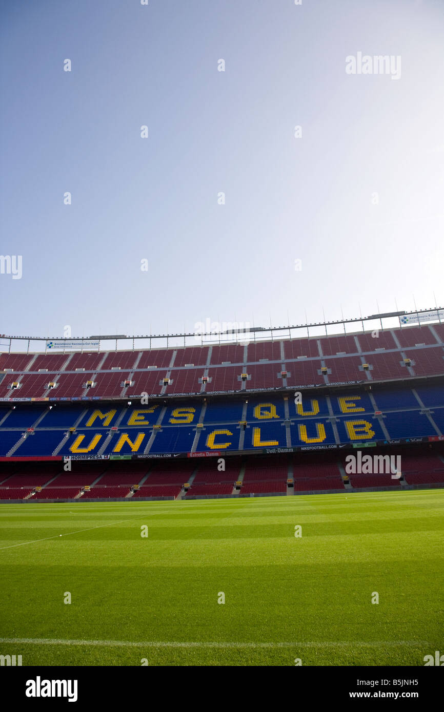 Clubs moto on the seats at Nou Camp, Barcelona Catalonia Spain - Stock Image