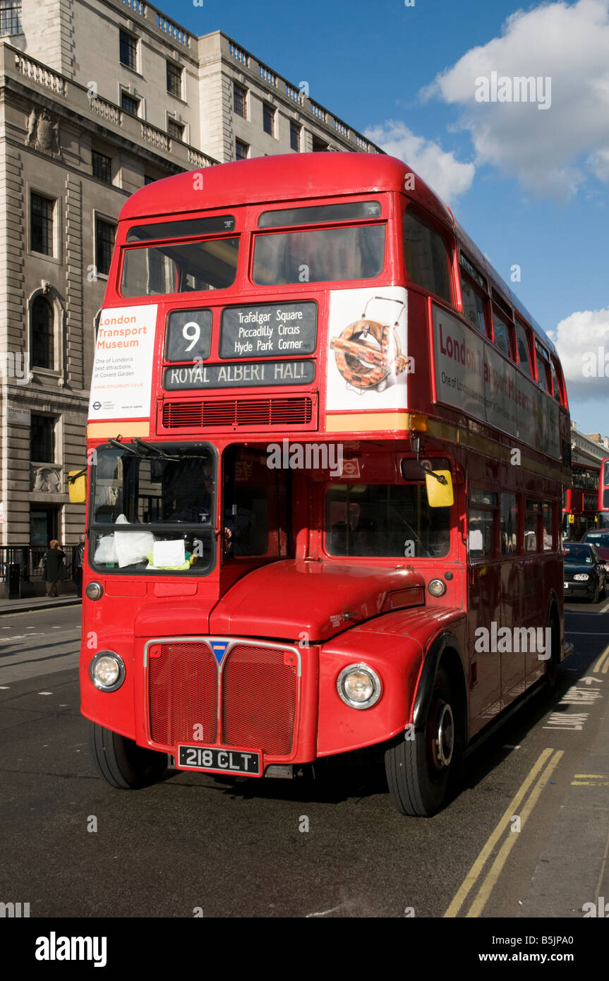 Number 9 red double decker Routemaster bus London England UK - Stock Image