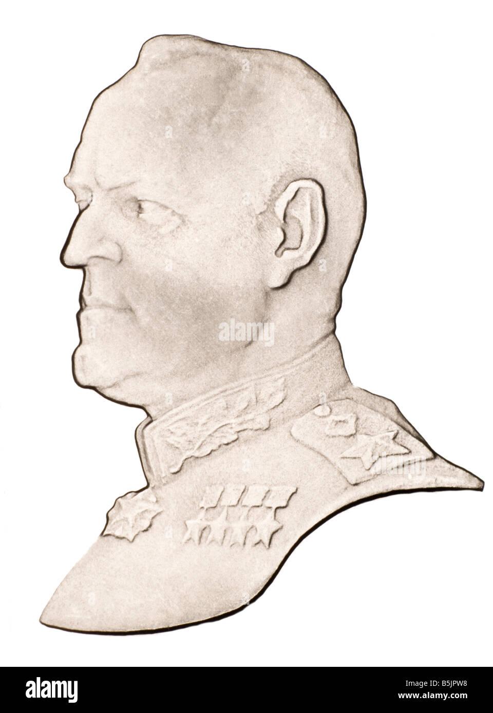 Profile Portrait of Russian Marshall Georgi Konstantinovich Zhukov (1898-1974) from Russian coin of 1990 - Stock Image