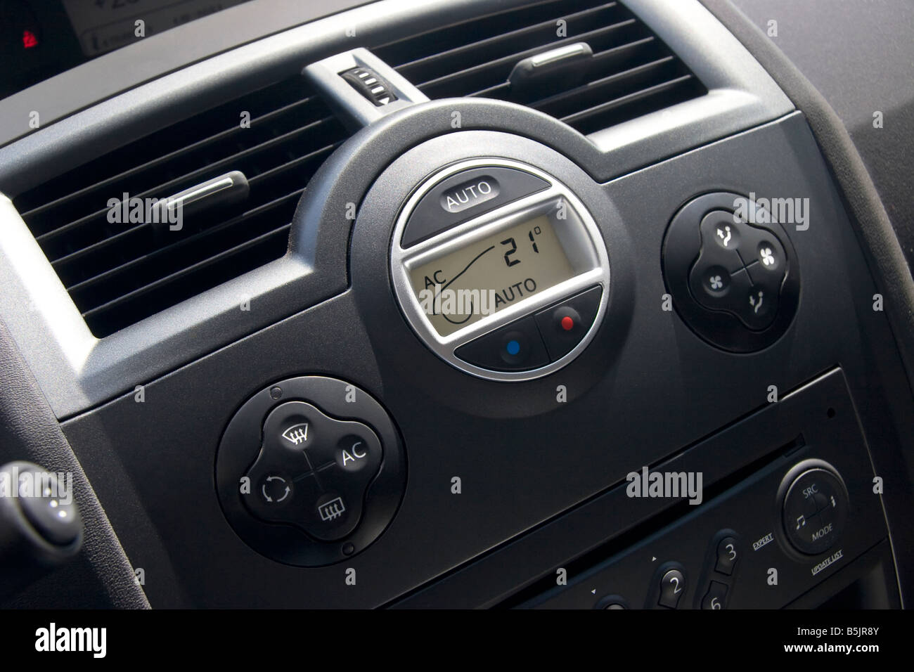 Car interior with climat control and display - Stock Image