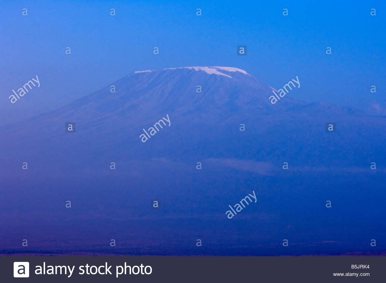 Mount Kilimanjaro seen from Amboseli National Park Kenya - Stock Image