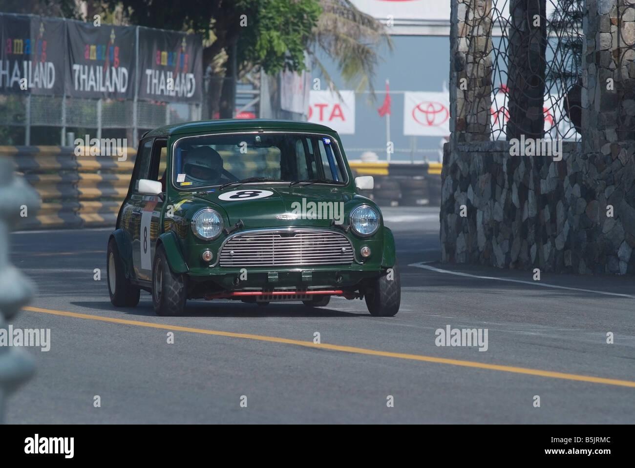 British Racing Green Austin Mini Cooper Racing At The City Circuit